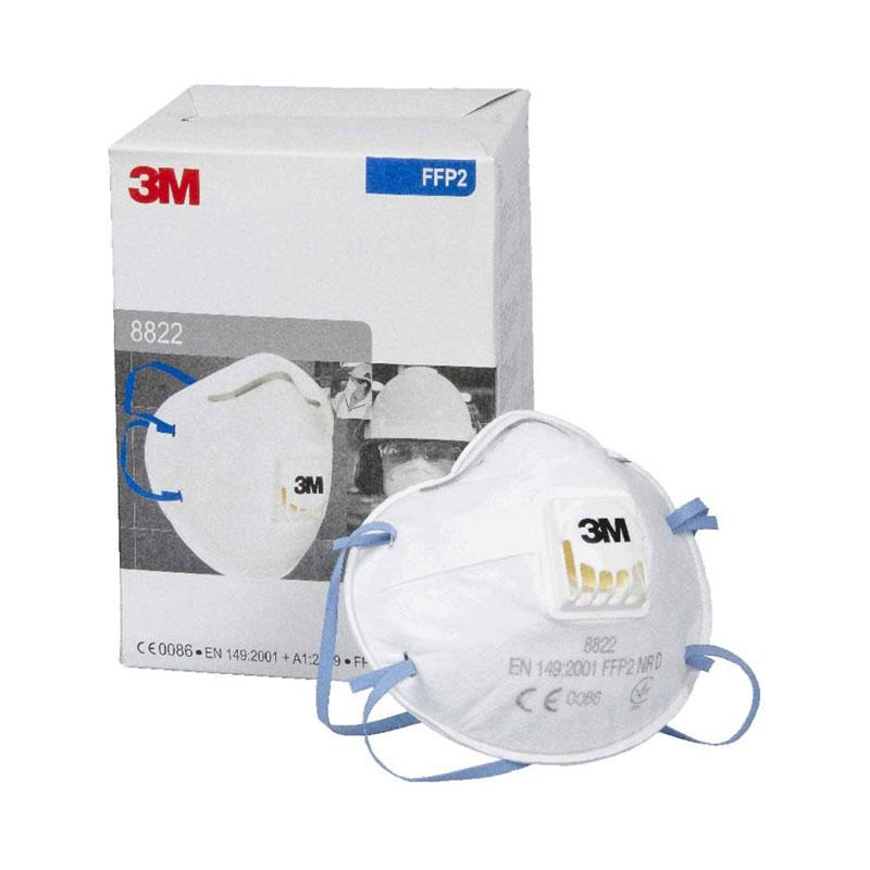 3M Cupped Particulate Respirator 8822, P2, valved 10 per bx