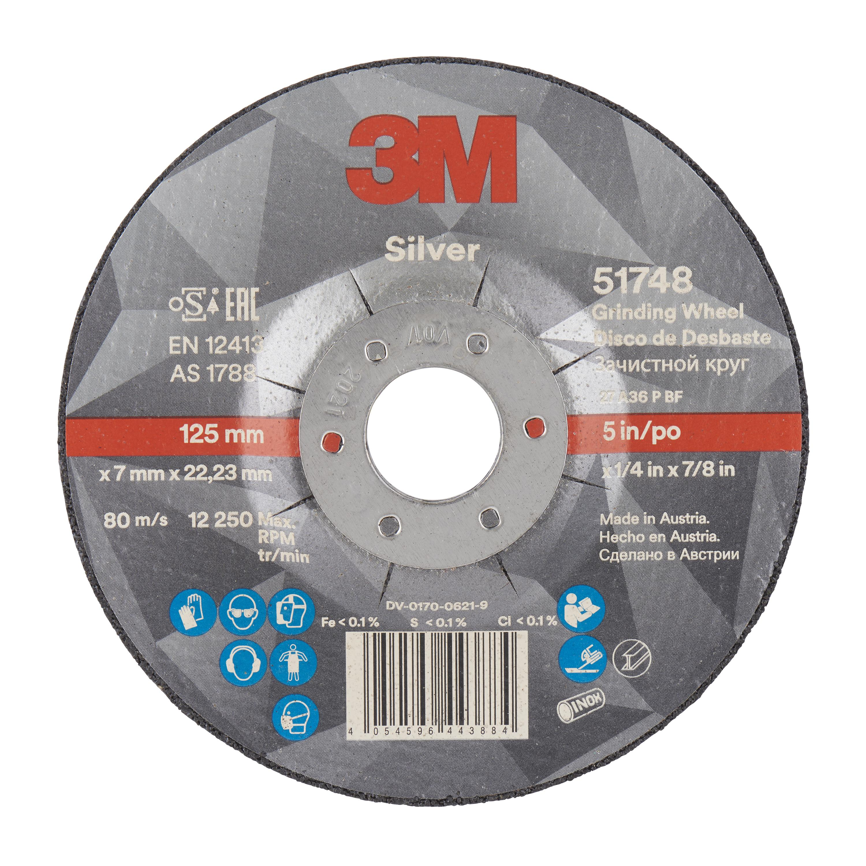3M Silver Depressed Centre Grinding Wheel 100mmx7x16mm - Abrasive