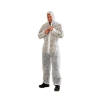 Disposable Overalls Polypropylene WHITE LARGE - Click for more info