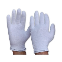 Gloves Mens Poly/Cotton Liner Hemmed Cuff WHITE 342CL - Click for more info
