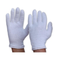 Gloves Ladies Poly/Cotton Liner Hemmed Cuff WHITE 342CLL - Click for more info
