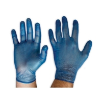 DVB Blue Disposable Vinyl Gloves MEDIUM 100 per box - Click for more info