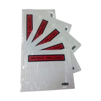 Invoice Enclosed BLACK ON RED 150mmx115mm 1000 per box - Click for more info