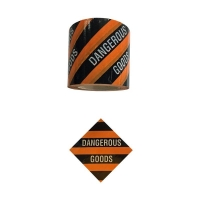 DANGEROUS GOODS Label Black And Orange 100mmx50m - Click for more info