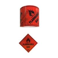 FLAMMABLE GAS 2.1 Label Black On Red 100mmx50m - Click for more info