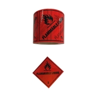 FLAMMABLE LIQUID 3 Label Black On Red 100mmx50m - Click for more info