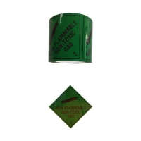 NON-FLAMABLE GAS 2.2 Label Black On Green 100mmx50m - Click for more info